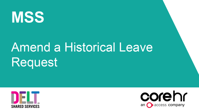 CoreHR MSS Amend a Historical Leave Request