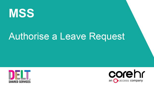 CoreHR MSS Authorise a Leave Request