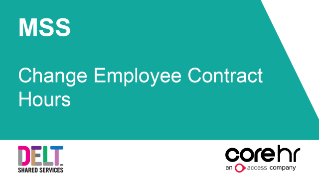 CoreHR MSS Change Employee Contract Hours