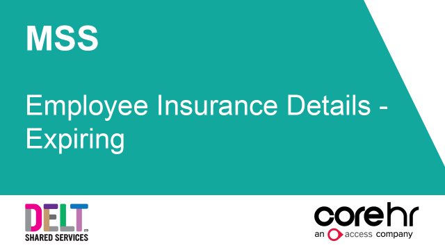 CoreHR MSS Employee Insurance Details - Expiring