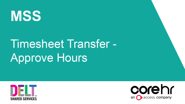 CoreHR MSS Timesheet Transfer - Approve Hours
